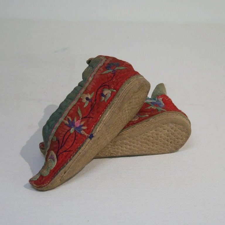 Tiny 19th Century Chinese Embroidered Women's Shoes 5