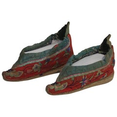 Tiny 19th Century Chinese Embroidered Women's Shoes