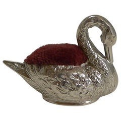 Tiny Antique English Sterling Silver Swan Pin Cushion, 1908