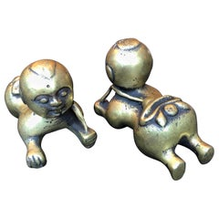 Tiny Chinese Crawling Bronze Babies