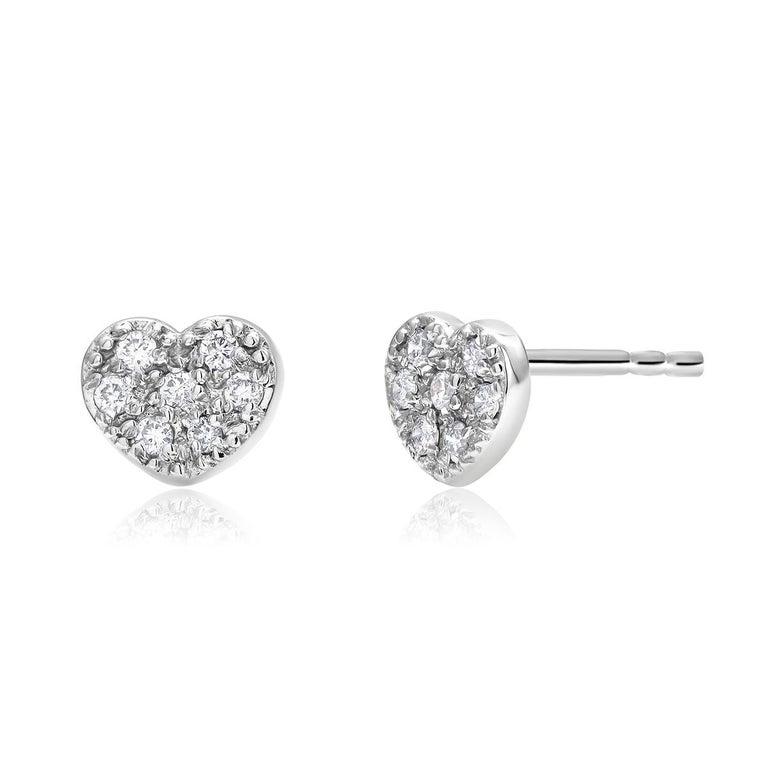 Round Cut Fourteen Karat White Gold Diamond Heart Shape Design Stud Earrings For Sale