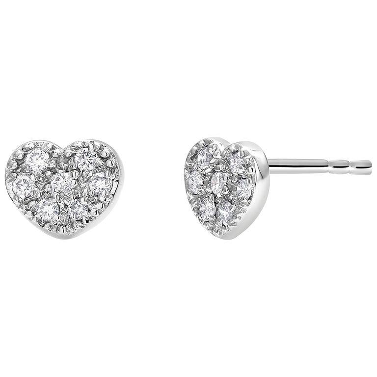 Fourteen Karat White Gold Diamond Heart Shape Design Stud Earrings For Sale