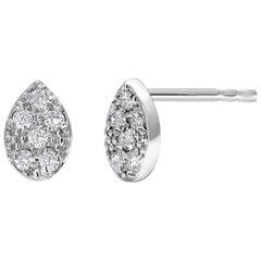 Fourteen Karat Gold Pear Shape Design Diamond Stud Earrings Measuring 0.25 Inch