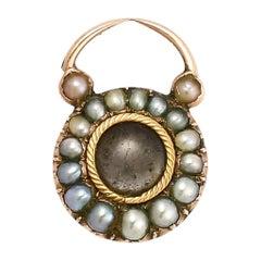 Tiny Georgian Pearl Heart Padlock Charm