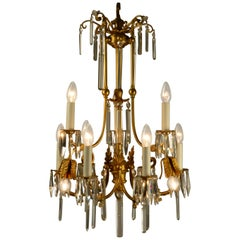 Tiny Late 19th Century Gas Chandelier of Elaborately Cast and Gilded Brass