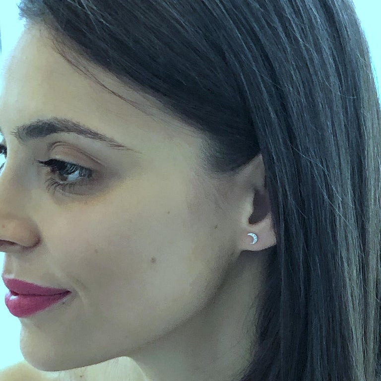 Contemporary Tiny Moon Shape Diamond Stud Earrings For Sale