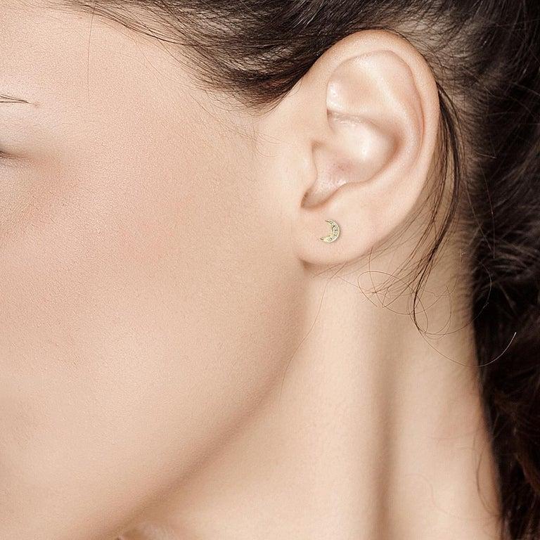 Round Cut Tiny Moon Shape Diamond Stud Earrings For Sale