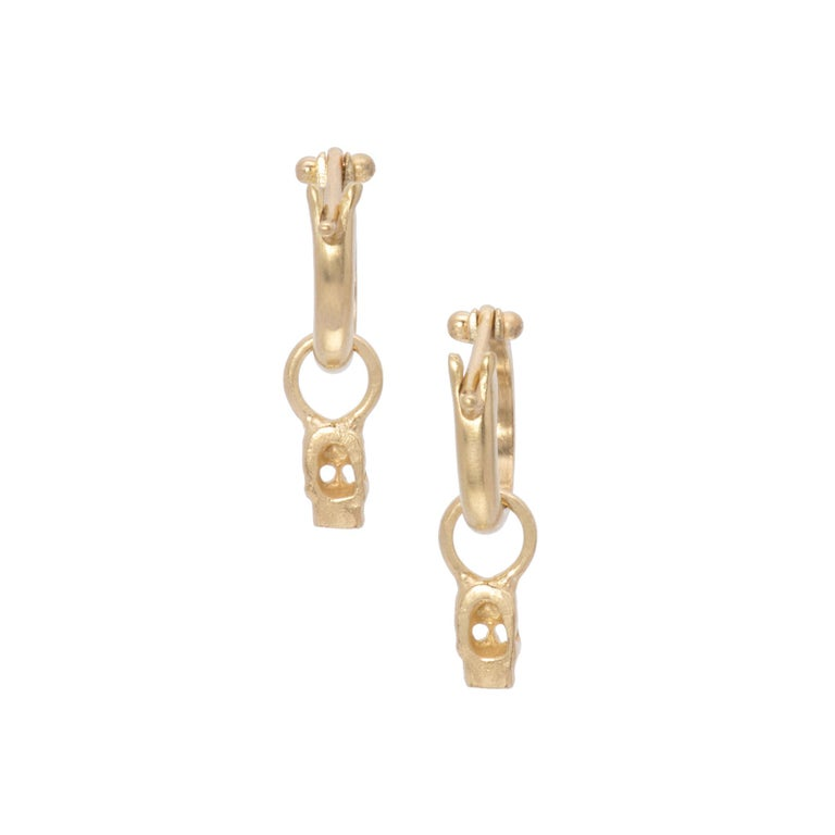 Women's or Men's Tiny Skull Drop Earrings in 18 Karat Gold For Sale