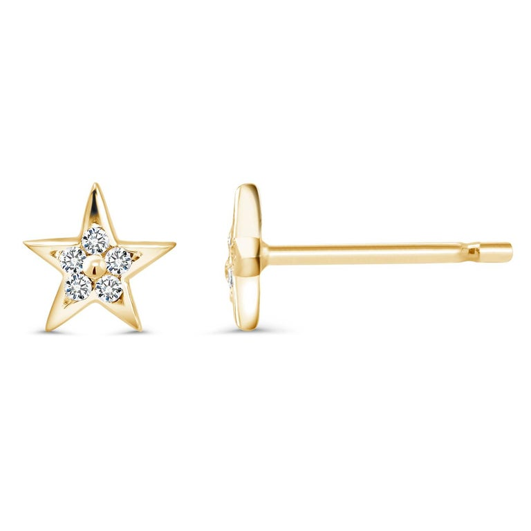 14 karat white gold tiny diamond stud earrings Star shape studs measuring 0.25 inch Round diamond weighing 0.10 carat  Diamond quality H SI New Earrings Handmade in USA