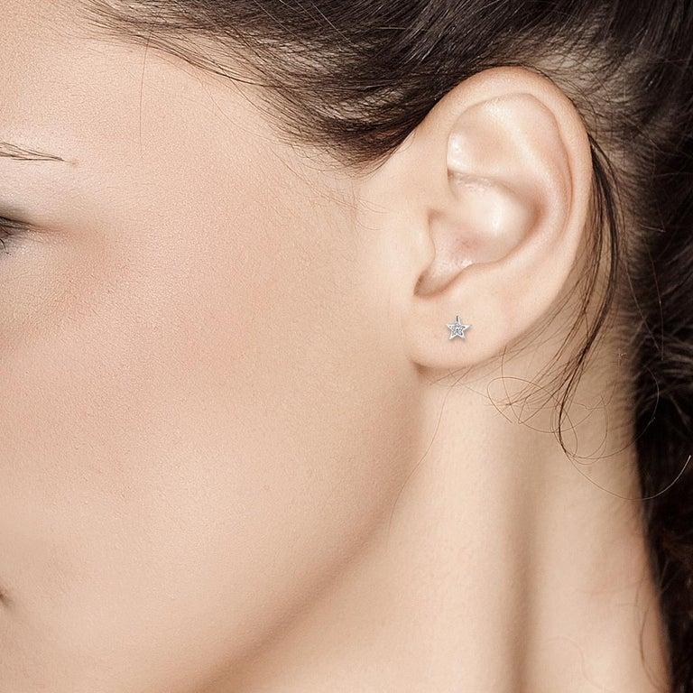 Contemporary Tiny Star Shape Diamond Stud Earrings For Sale