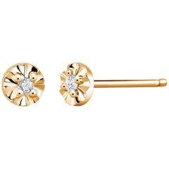 Tiny Yellow Gold Scalloped Diamond Stud Earrings