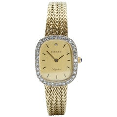 "Tissot Ladies circa 1980s Diamond and 14 Karat Gold Wristwatch Signed ""Saphir"""