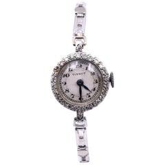 Tissot Ladies Vintage Platinum 14 Karat Gold Bracelet Watch with Diamond Bezel