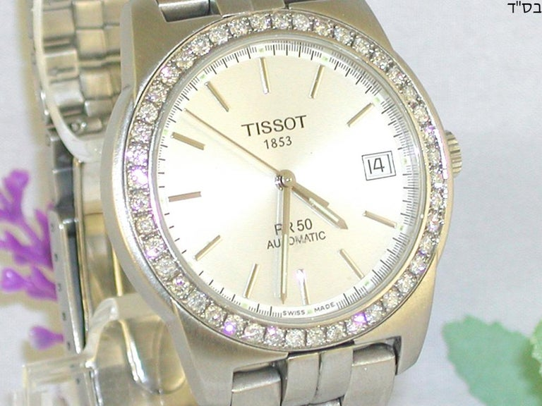 Contemporary Tissot PR50 Men's Watch Stainless Steel White Diamonds For Sale