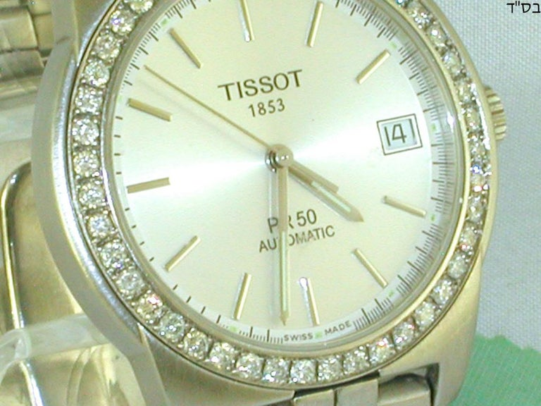 Round Cut Tissot PR50 Men's Watch Stainless Steel White Diamonds For Sale