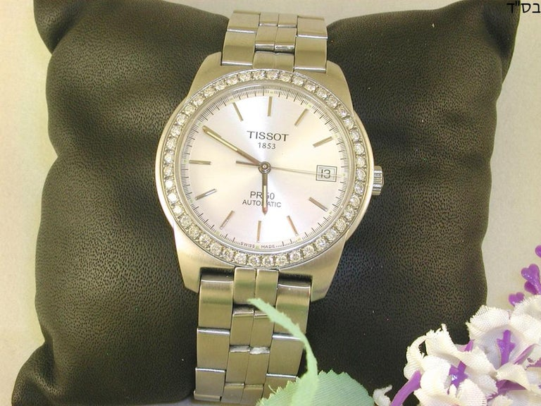 Tissot PR50 Men's Watch Stainless Steel White Diamonds In Excellent Condition For Sale In Antwerp, BE