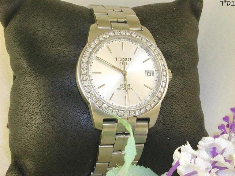 Tissot PR50 Men's Watch Stainless Steel White Diamonds For Sale 1