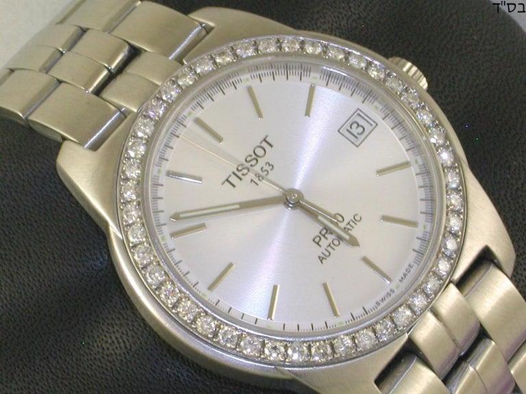 Tissot PR50 Men's Watch Stainless Steel White Diamonds For Sale 2