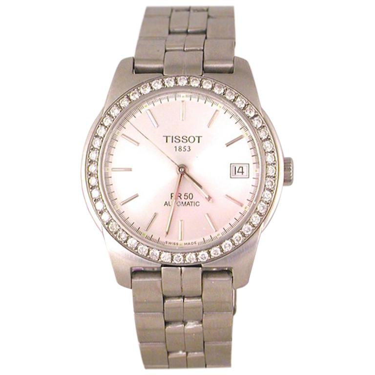 Tissot PR50 Men's Watch Stainless Steel White Diamonds For Sale