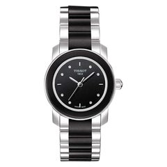 Tissot Stainless Steel & Ceramic Black Dial with Diamonds Watch T0642102205600