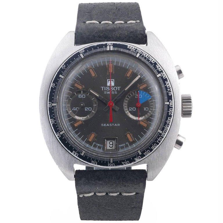 Tissot Stainless Steel Seastar Chronograph Manual Wind Wristwatch, 1970s In Excellent Condition For Sale In Firenze, IT