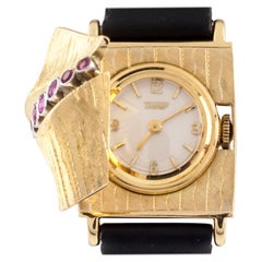 Tissot Vintage 18 Karat Gold Ladies Dress Watch with Ornate Tourmaline Cover
