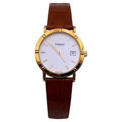 Tissot Vintage 18K Gold Women Quartz Wrist Watch Leather Strap