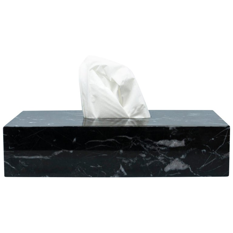 Tissues Cover Box In Black Marble For Sale At 1stdibs