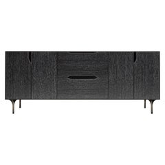 Titan Credenza, Cerused Oak, Blackened Steel Frame with Patinated Brass Legs