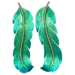 Titanium and Diamonds Earrings Feather