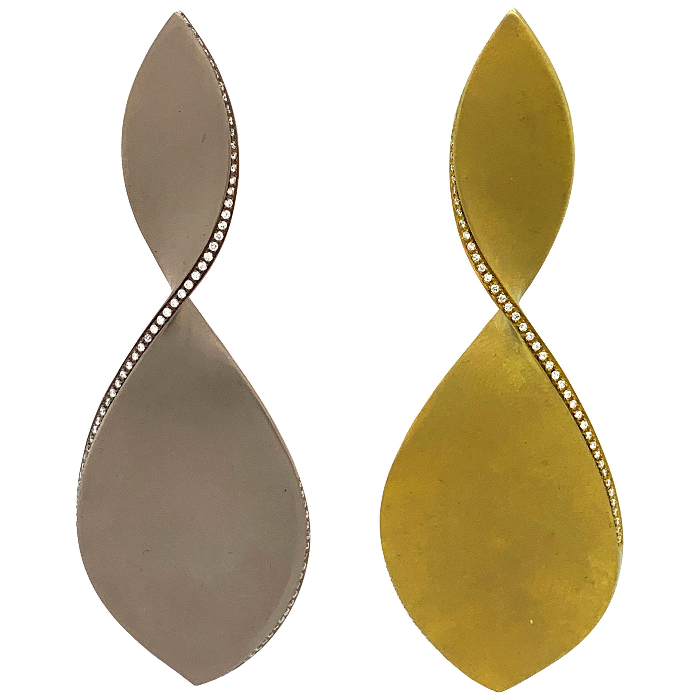 Titanium and Diamonds Twist Earrings