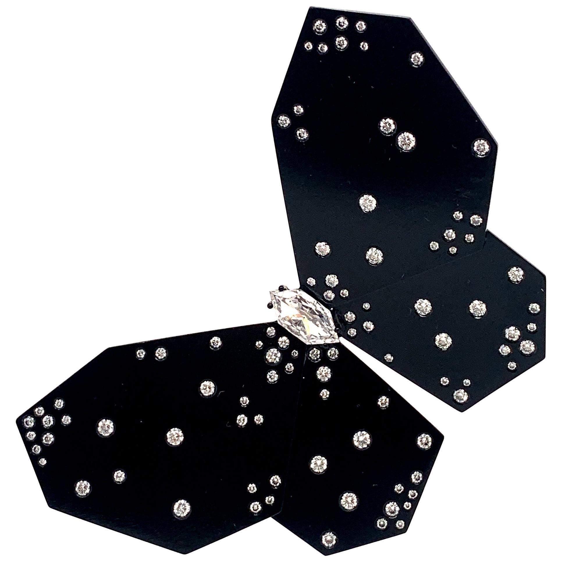 Titanium and Gold Black Butterfly Diamonds Earring 'single' 2.51 Carat Diamonds