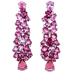 Titanium and Gold Diamonds and Pink Tourmalines Earrings Chandelier