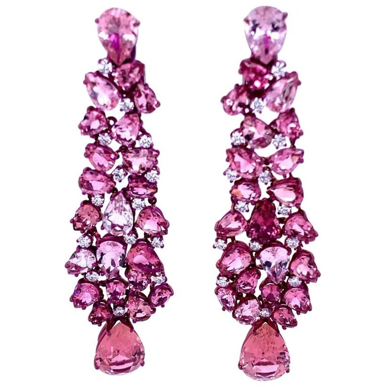 Titanium and Gold Diamonds and Pink Tourmalines Earrings Chandelier For Sale