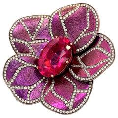Titanium and Gold Rubellite 18.99 Carat Flower Ring