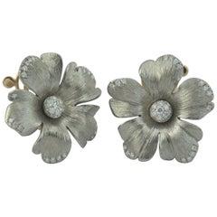 Titanium Diamond Gold Flower Earrings
