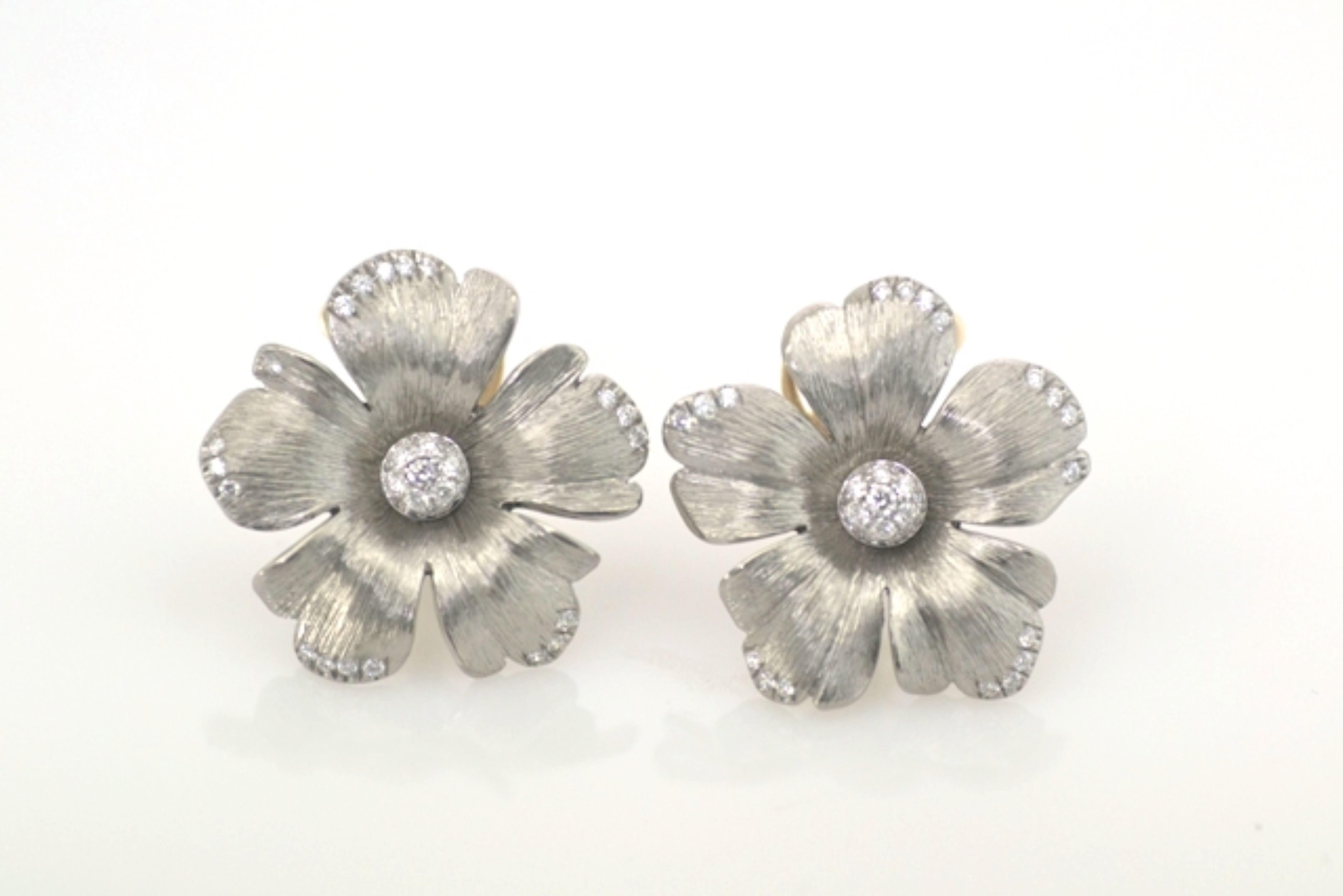 Titanium Diamond  18 KT Rose Gold Flower Earrings