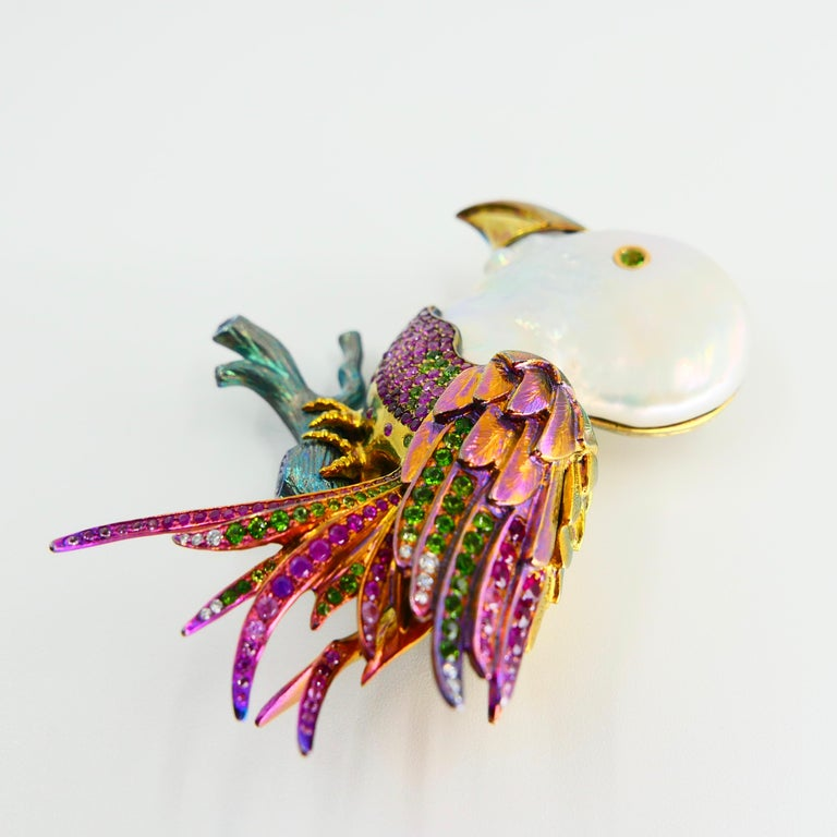 Women's or Men's Titanium, Pearl, Rubies, Peridot, Diamonds, Pink and Blue Sapphires Bird Brooch For Sale