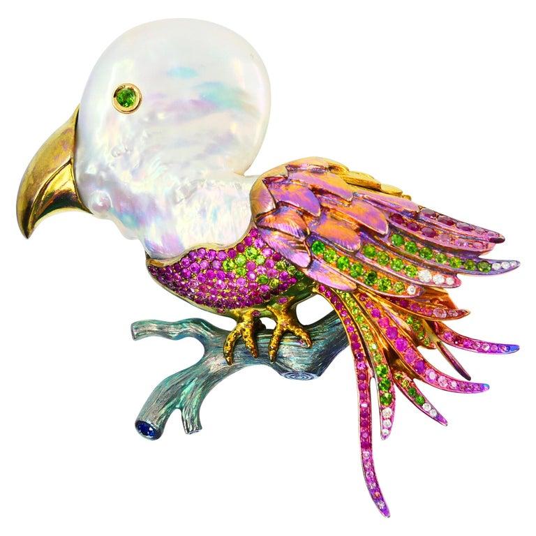 Titanium, Pearl, Rubies, Peridot, Diamonds, Pink and Blue Sapphires Bird Brooch For Sale