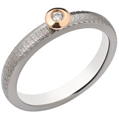 Titanium Ring with Diamond and Gold - Engagement - Anniversary - Birthday Gift