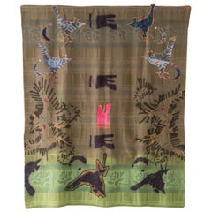 'Title' Quilt Painting Wool Tapestry Textile Art, in Stock