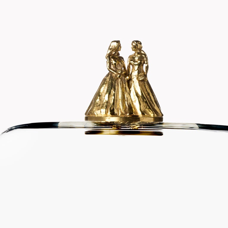Italian Titled Happy Ending She+She Glass and Brass Dome For Sale