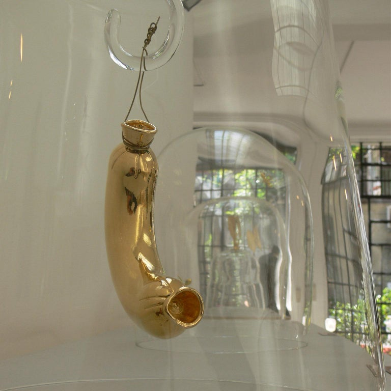 Modern Titled, Last Meal Glass and Brass Dome For Sale