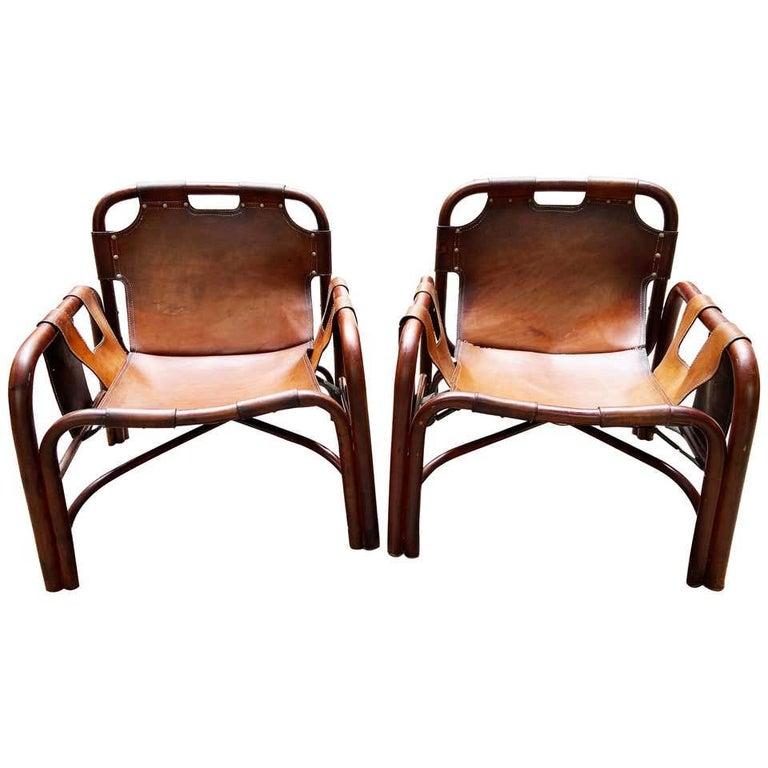 Mid-Century Modern Tito Agnoli 2 Safari Leather and Bamboo Armchairs from Bonacina, Italy, 1960s For Sale