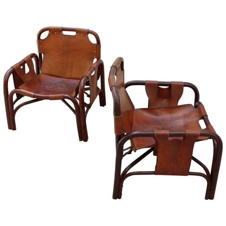 Italian Tito Agnoli 2 Safari Leather and Bamboo Armchairs from Bonacina, Italy, 1960s For Sale