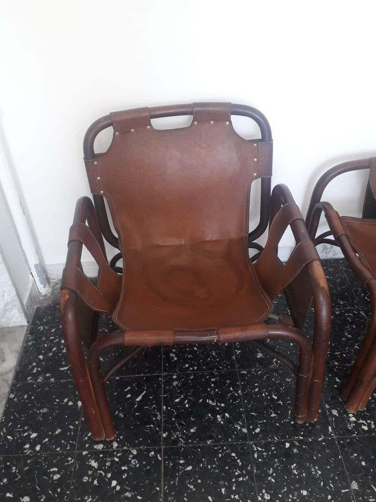Tito Agnoli 2 Safari Leather and Bamboo Armchairs from Bonacina, Italy, 1960s In Good Condition For Sale In Tuscany, IT