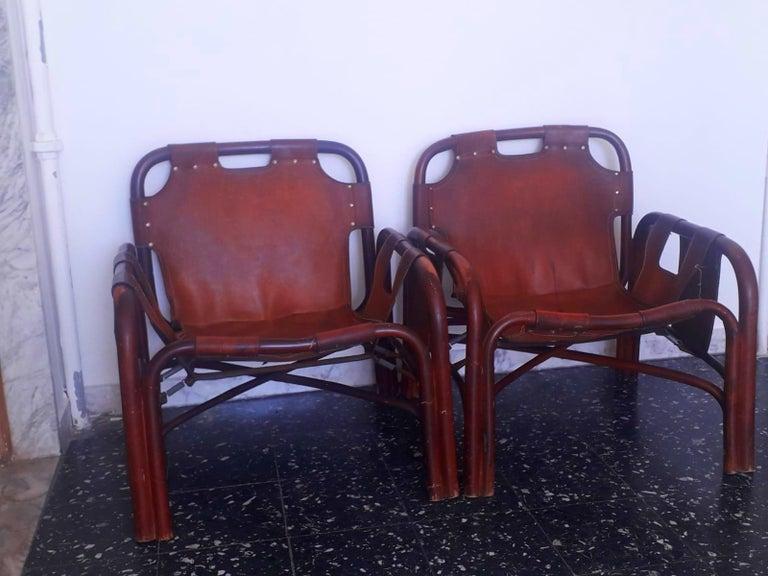 Mid-20th Century Tito Agnoli 2 Safari Leather and Bamboo Armchairs from Bonacina, Italy, 1960s For Sale