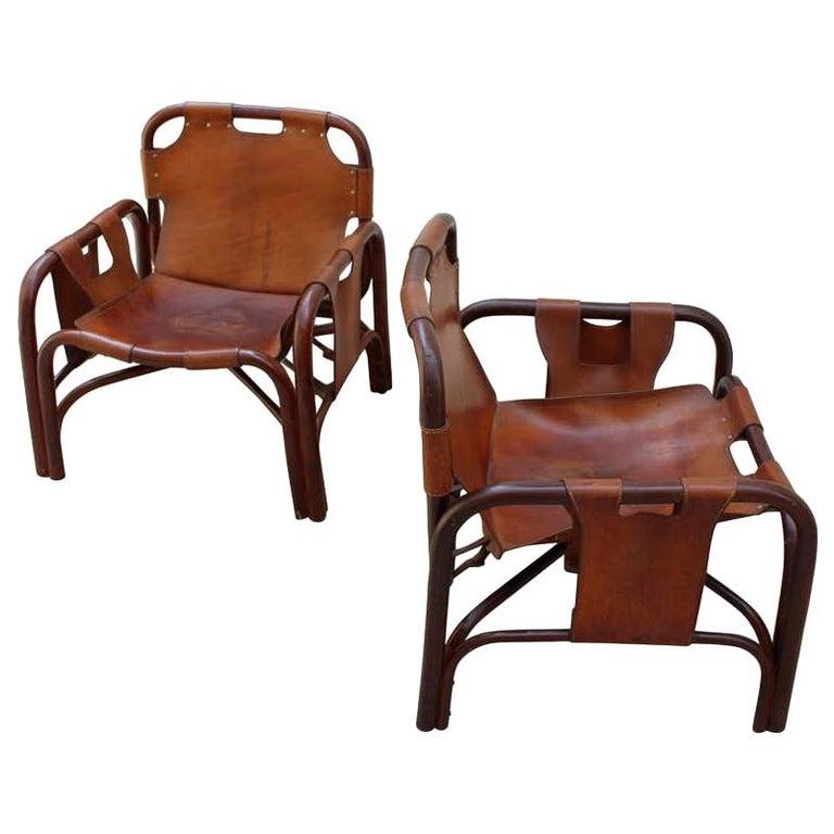 Tito Agnoli 2 Safari Leather and Bamboo Armchairs from Bonacina, Italy, 1960s For Sale