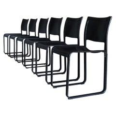 Tito Agnoli Black Leather Sistina Dining Chairs for Matteo Grassi, circa 1980