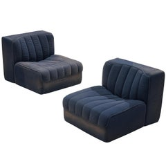 Tito Agnoli for Arflex Modular Lounge Chairs Model '9000' in Blue Upholstery